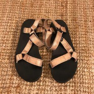 Rose gold Teva sandals
